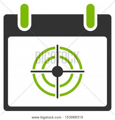 Bullseye Calendar Day glyph pictogram. Style is flat graphic bicolor symbol, eco green and gray colors, white background.
