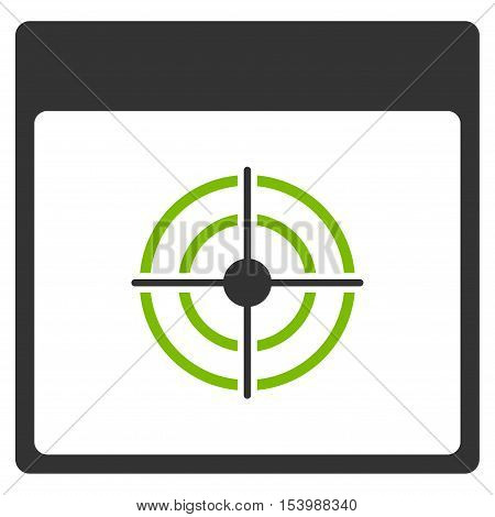 Bullseye Calendar Page glyph pictograph. Style is flat graphic bicolor symbol, eco green and gray colors, white background.