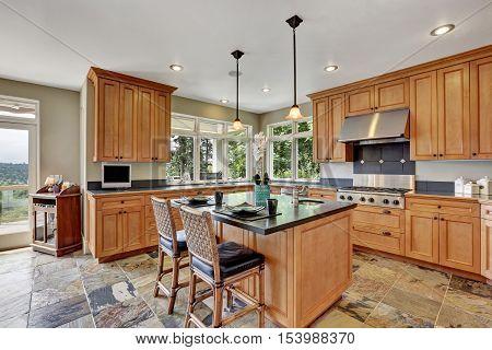 Modern Kitchen Room Interior With New Steel Appliances