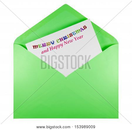 Open Envelope With Text Merry Christmas - Green