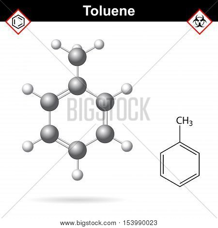 Toluene organic solvent chemical structure 2d and 3d vector illustration isolated on white background eps 10