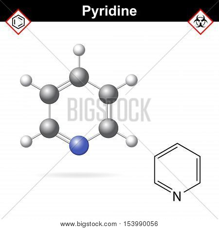 Pyridine organic solvent molecular structure 2d and 3d vector illustration isolated on white background eps 10