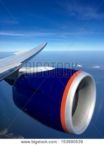 Left Wing Aircraft Engine During Descent Into Hong Kong