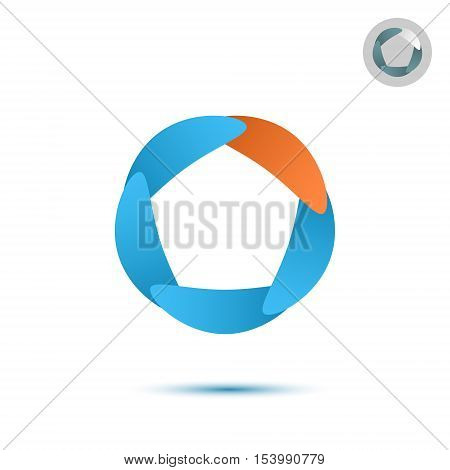 Five segmented circle o letter logo 2d illustration isolated on white background eps 10