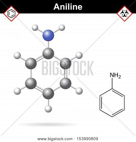 Aniline organic solvent molecular structure 2d and 3d vector illustration isolated on white background eps 10