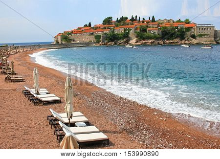 St. Stephen Royal Island Beach Montenegro Views Of St. Stephen's Island, 29 July 2016 Adriatic Sea