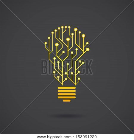Lamp formed by chip connectors idea generation concept sign 2d lamp vector icon illustration isolated on dark background eps 10
