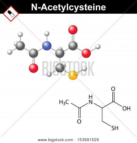 Acetylcysteine mucolytic expectorant detoxifying medical drug 2d and 3d vector illustration of molecular formula isolated on white background eps 10