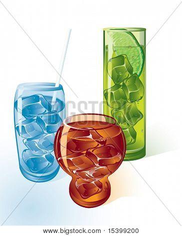 Ice drinks. Vector.