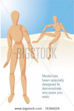 Wooden manikin. Vector. Model has been specially designed to demonstrate any pose you wish.