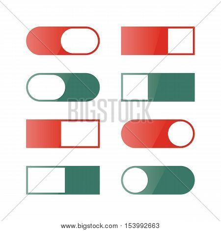 Set of different buttons and switches web interface design elements isolated on white background. Flat style vector illustration.