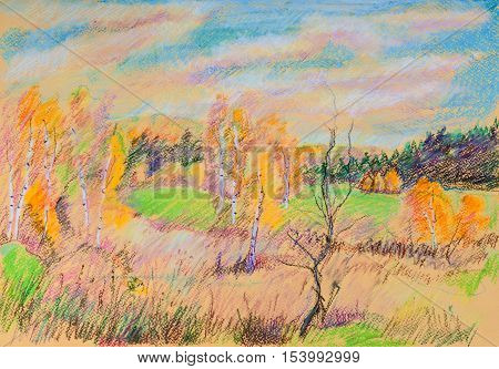 Yellow hills in fall near Moscow, cloudy day