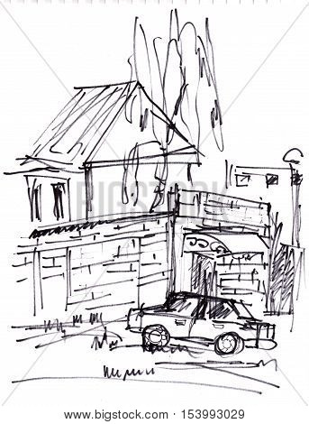 Instant sketch car near the house with tree