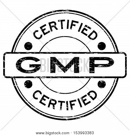Grunge black GMP (Good Manufacturing Practice) certified rubber stamp
