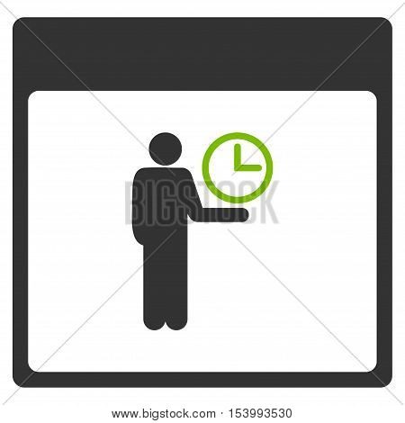 Time Manager Calendar Page glyph pictograph. Style is flat graphic bicolor symbol, eco green and gray colors, white background.