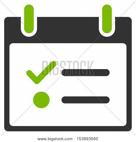 Todo List Calendar Day glyph pictograph. Style is flat graphic bicolor symbol, eco green and gray colors, white background.