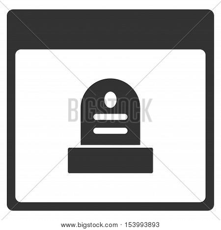 Memorial Tombstone Calendar Page glyph pictograph. Style is flat graphic symbol, gray color, white background.