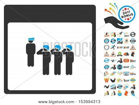 Army Squad Calendar Page pictograph with bonus calendar and time management design elements. Glyph illustration style is flat iconic symbols, blue and gray colors, white background.