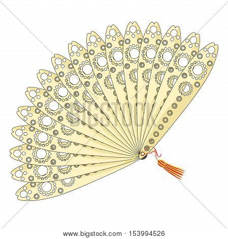 Japanese Fan Of With An Openwork Pattern. Vector Illustration