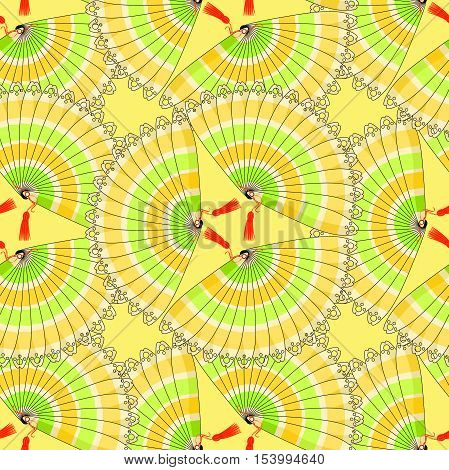 Japanese Fan Seamless Pattern With Colored Stripes Circle On A Yellow Background. Vector Illustratio