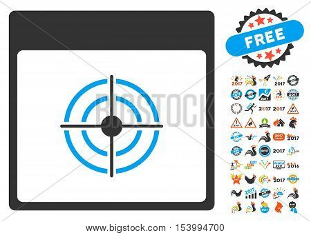 Bullseye Calendar Page icon with bonus calendar and time management icon set. Glyph illustration style is flat iconic symbols, blue and gray colors, white background.