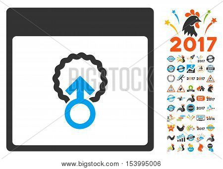 Cell Penetration Calendar Page pictograph with bonus calendar and time management pictograph collection. Glyph illustration style is flat iconic symbols, blue and gray colors, white background.