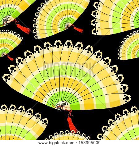 Japanese Fan Seamless Pattern With Colored Stripes On A Black Background. Vector Illustration