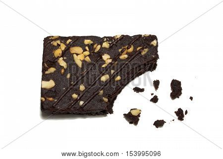 Healthy Chocolate walnut brownies isolate on white background