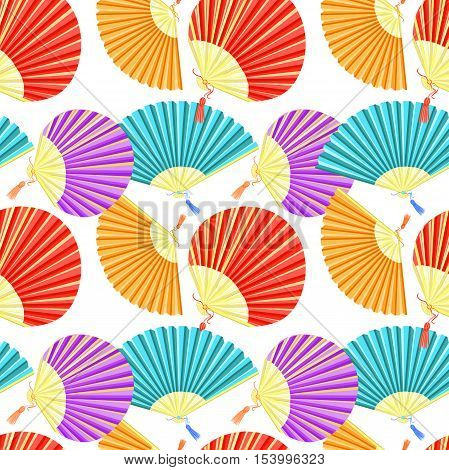Seamless Pattern Colorful Japanese Fan Of. Vector Illustration