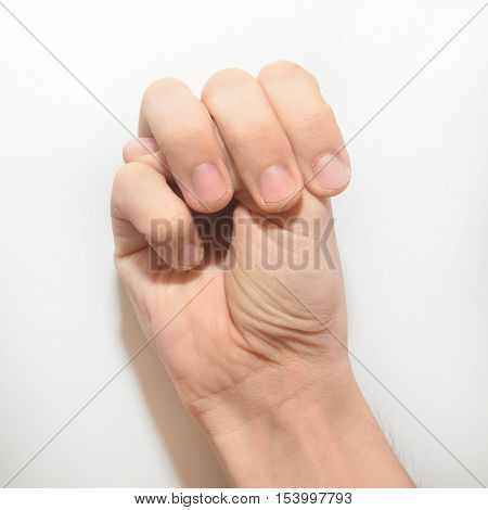 Letter U in American Sign Language (ASL) for deaf people male hand