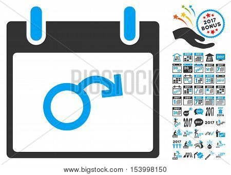 Impotence Calendar Day pictograph with bonus calendar and time management clip art. Glyph illustration style is flat iconic symbols, blue and gray colors, white background.