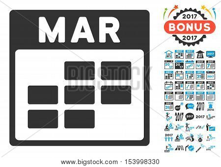 March Calendar Grid pictograph with bonus calendar and time management clip art. Glyph illustration style is flat iconic symbols, blue and gray colors, white background.