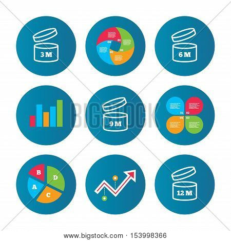 Business pie chart. Growth curve. Presentation buttons. After opening use icons. Expiration date 6-12 months of product signs symbols. Shelf life of grocery item. Data analysis. Vector