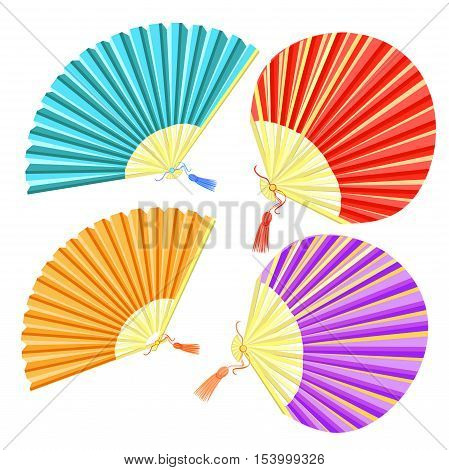 set of colored Japanese fan of vector illustration