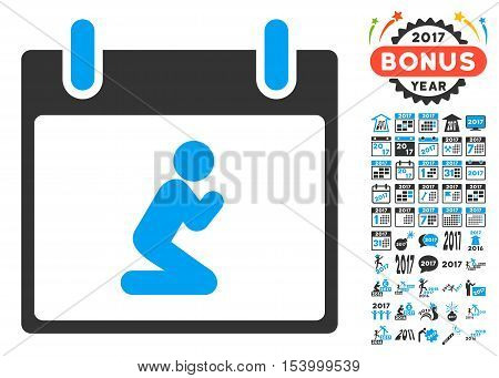 Pray Person Calendar Day pictograph with bonus calendar and time management pictogram set. Glyph illustration style is flat iconic symbols, blue and gray colors, white background.