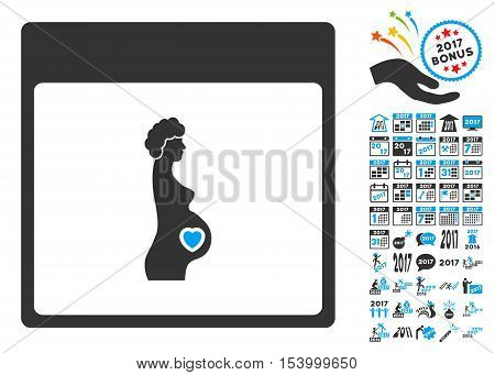 Pregnant Woman Calendar Page icon with bonus calendar and time management images. Glyph illustration style is flat iconic symbols, blue and gray colors, white background.