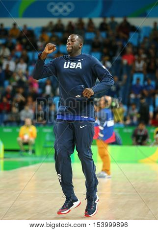 RIO DE JANEIRO, BRAZIL - AUGUST 10, 2016: Draymond Green of team United States warms up for group A basketball match between Team USA and Australia of the Rio 2016 Olympic Games at Carioca Arena 1