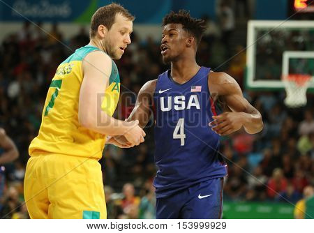 RIO DE JANEIRO, BRAZIL - AUGUST 10, 2016: Jimmy Butler of team United States in action during group A basketball match between Team USA and Australia of the Rio 2016 Olympic Games at Carioca Arena 1