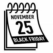 Calendar twenty fifth november black friday icon. Simple illustration of calendar twenty fifth november black friday vector icon for web poster