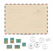 Blank postal envelope with postage stamps and postmarks on white background vector illustration. Stamps set with world famous architectural composition. Postal services. Envelope delivery. Gift envelope. Souvenir of trip. Travel souvenir. Envelope layout. poster