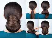 Hairstyle tutorial elegant twisted bun. Hairstyle easy chignon tutorial. Hairstyle tutorial for long hair. Hairstyle bun. Tutorial. Hair model. poster