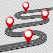 Vector pathway road map with route pin icon on the way track. Roadmap template design poster