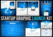Startup Graphic Lauch Kit with Landing Webpages, Corporate Design Covers to use for web promotons, printed related materials or company presentation. Space for text. poster