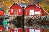 Traditional Norwegian red wooden fishing barns stand on the sea coast. Snillfjord Sor-Trondelag region Vingvagen fishing camp poster