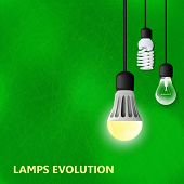 Hanging on cords 3 light bulbs with glowing one on a green background. LED lamp energy saving compact fluorescent lightbulb and Incandescent light bulb. lamps evolution. Green energy poster