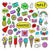Vector hand drawn patches: ice cream cactus watermelon camera rainbow cat cloud lip heart speech bubble. Modern set of pop art stickers patches pins badges in 80s-90s cartoon style poster