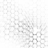 Chemistry 3D pattern, hexagonal design molecule structure on white, scientific medical research. Medicine, science and technology concept. Motion design. Geometric abstract background poster