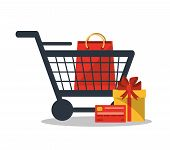 Gift bag and cart icon. Shopping online ecommerce media and market theme. Colorful design. Vector illustration poster