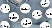 I Voted Buttons Pins Shirt Election Voter Politics Democracy 3d Illustration poster
