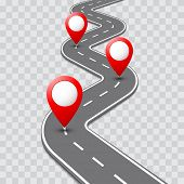 Road map with pathway route pin icon on the way track. Vector roadmap template design on transparent background. poster